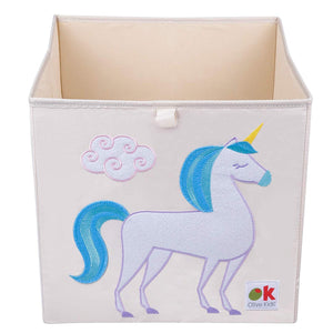 "Unicorn 13"" Cube Canvas Toy Storage Box / Bin with Applique"