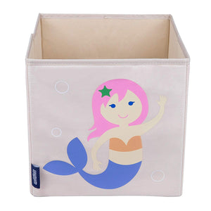 "Mermaid 10"" Cube Canvas Toy Storage Box / Bin"