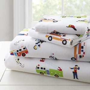 Rescue Heroes Police Fire Trucks Ambulance Kids Microfiber Bed Sheet Set Toddler Twin Full