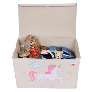 Unicorn Appliqued Toy Storage Chest / Foldable Canvas Box / Bin 24""