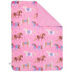 "Pony Horses Pink Baby Crib Blanket 29"" x 35"" Plush Velour Minky Throw"