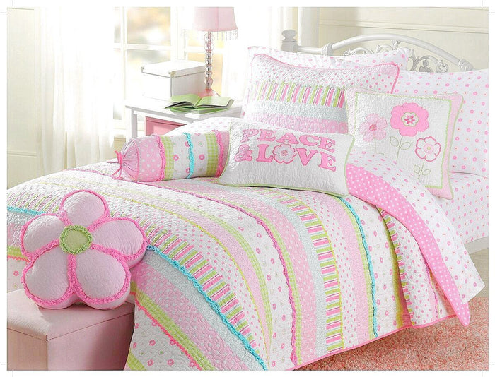 Shabby Chic Pink Green Stripes & Flowers Polka Dot Girl Bedding Twin Full/Queen Quilt Set