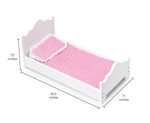 Baby Doll White Wooden Single Bed Toy Furniture 20.5""
