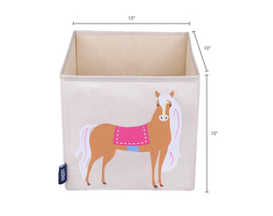 "Horse 10"" Cube Canvas Toy Storage Box / Bin"