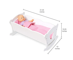 Baby Doll White Wooden Cradle Toy Furniture w/Heart Cutouts 21""