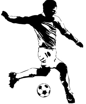 Giant Soccer Player Wall Mural Peel and Stick Wallpaper Decal Sticker