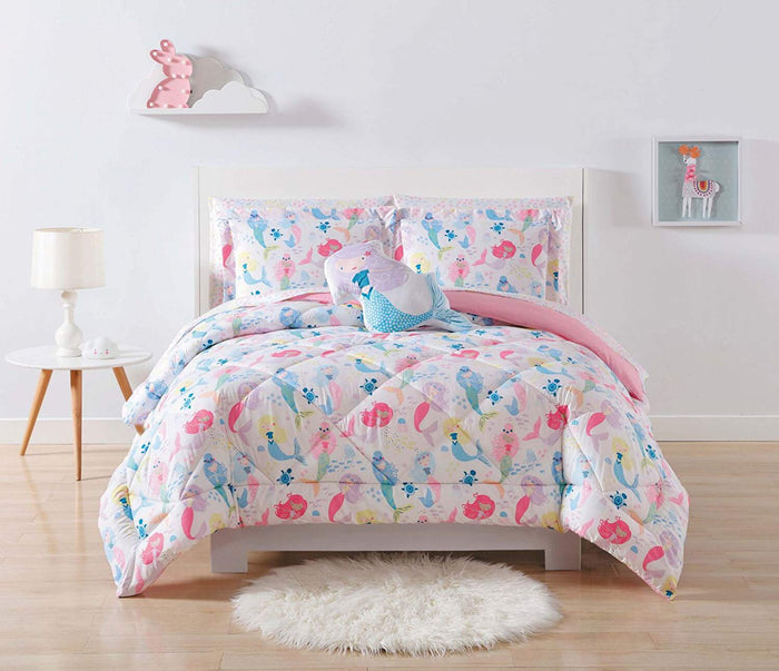Mermaid Print Comforter Set Twin or Full/Queen Girl Bedding White & Pink