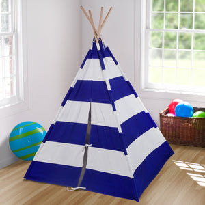 "Blue White Striped Kids Play Teepee 63"" Cotton Canvas"