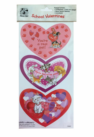 Suzy's Zoo Cats & Dogs School Valentines - Valentine Cards - 15 CT with Bonus Teacher Valentine