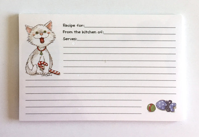 Suzy's Zoo Christmas White Cat Recipe Cards 2 CT