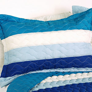 Blue & White Striped Teen Boy or Girl Bedding Striped Quilt Set - Pillow Sham