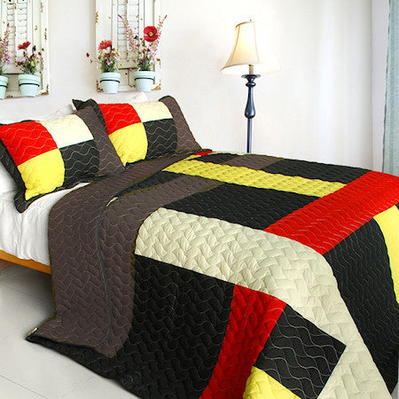 Black Gray Red Yellow Striped Teen Bedding Full/Queen Quilt Set Modern Geometric Bedspread