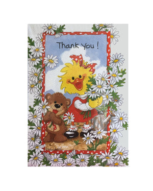 Suzy's Zoo Suzy Ducken & Willie Bear Daisy Bouquets Thank You Cards 2 CT