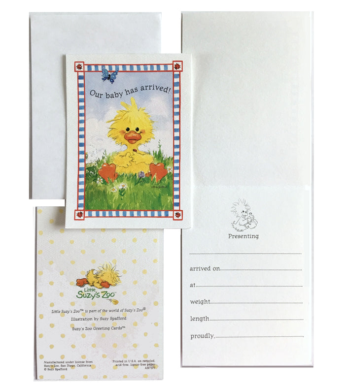 Little Suzy's Zoo Baby Has Arrived Yellow Witzy Duck Birth Announcement Cards 2 CT