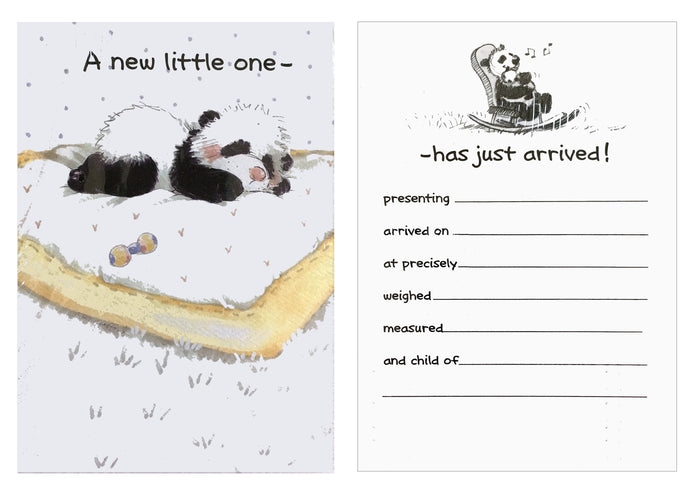 Suzy's Zoo Baby Birth Announcement Cards 2 CT - Panda Bear