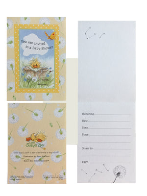 Little Suzy's Zoo Baby Shower Invitation Cards 2 CT - Witzy In A Basket Yellow Duck