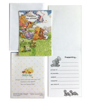Little Suzy's Zoo Baby's New Arrival Birth Announcement Cards 2 CT - Ellie Witzy Boof Patches Lulla