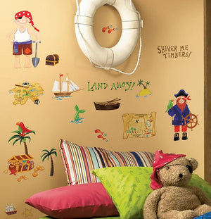 Pirate Treasure Wall Stickers Decals Boys Room Decor Peel & Stick Mural