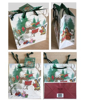 Suzy's Zoo Bear & Snowman Medium Christmas Gift Bag