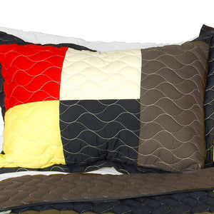 Black Gray Red Yellow Striped Teen Bedding Full/Queen Quilt Set - Pillow Sham