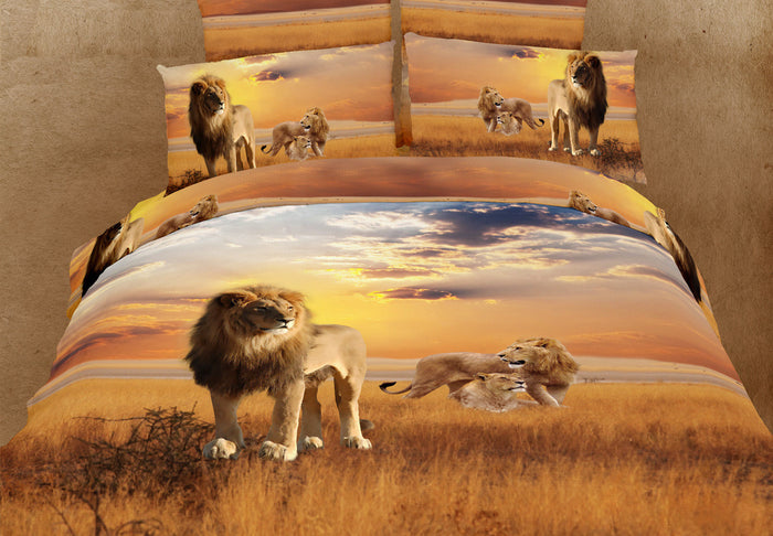 Safari Lion Bedding Golden Duvet Cover Set King Golden Brown 3D Designer Ensemble