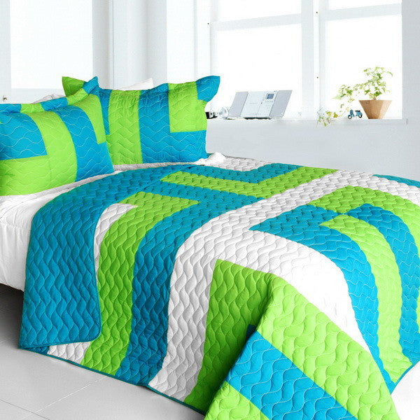 Turquoise Blue Green & White Striped Teen Bedding Full/Queen Quilt Set Modern Geometric Bedspread