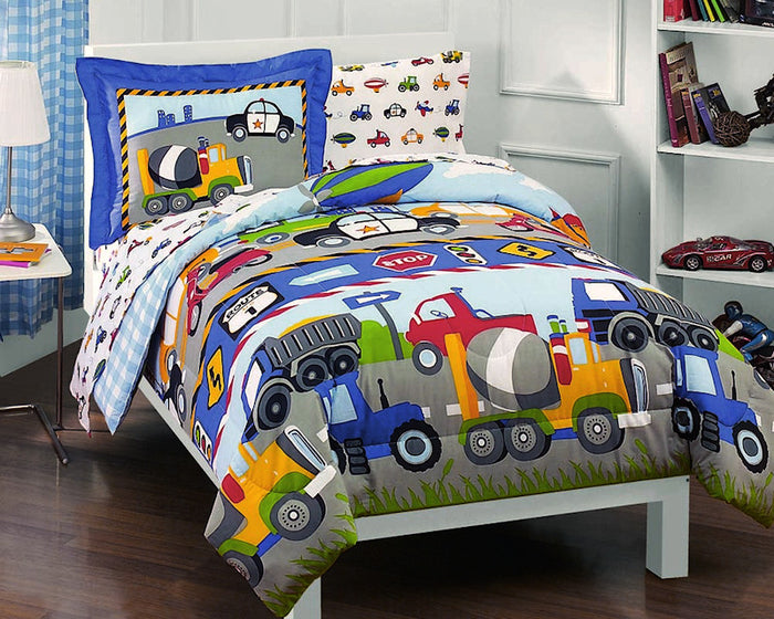 Cars, Trucks, Airplane, Police Car Bedding for Boys 5pc Twin Comforter Set Bed in a Bag Ensemble
