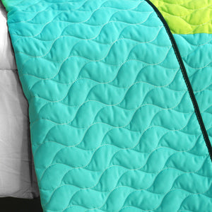 Black White Turquoise Teen Boy Bedding Full/Queen Quilt Set - Back