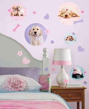 Puppy Dogs Wall Decals Stickers Pink Purple for Girls