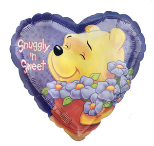 "Winnie The Pooh Purple Heart-Shaped Snuggly 'n Sweet Friendship or Birthday 18"" Party Balloon"