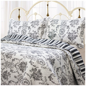 Black White French Medallion Bedding Full/Queen King Elegant Romantic Victorian Quilt Set