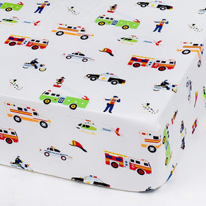 Fire Trucks, Police Cars Rescue Heroes Microfiber Fitted Baby Crib Sheets 2-Pack