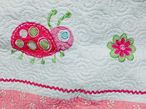 Hot Pink Green Ladybug Girl Bedding Polka Dot & Stripe Twin Full/Queen Cotton Quilt Set