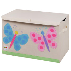 Pink Blue Butterflies Appliqued Toy Storage Chest / Foldable Canvas Box / Bin 24""