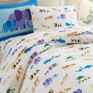 Endangered Wild Animals Cotton Duvet Cover Twin Full/Queen Kids Bedding - Elephants, Pandas