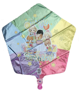 "Precious Moments Children Happy Birthday 18"" Star-Shaped Prismatic Party Balloon"