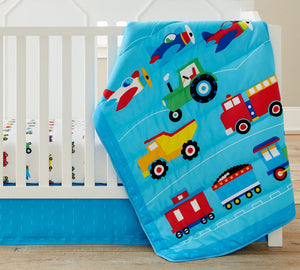 Blue Train, Airplanes, Trucks 3-Piece Baby Boy Crib Nursery Set