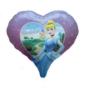 "Disney Princess Cinderella Purple Heart-Shaped 18"" Happy Birthday Party Balloon"