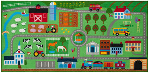 "Farm Land Educational Play Rug 39"" x 80"""