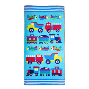 "Trains Planes Trucks Kids Cotton Beach / Bath Towel 32"" x 64"""