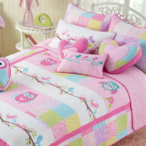 Pink Owls & Spring Birds Girl Bedding Twin Full/Queen Cotton Quilt Set