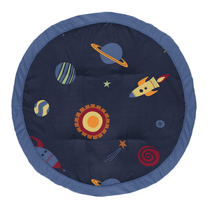 Outer Space Rockets Planets Galaxy Round Play Mat / Rug 36""