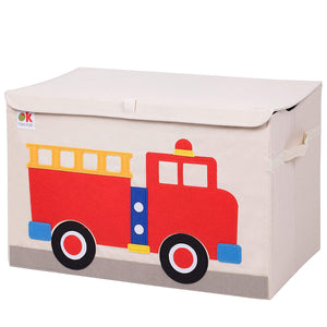 Red Fire Truck Appliqued Toy Storage Chest / Foldable Canvas Box / Bin 24""