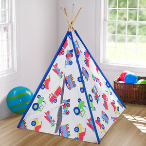 "Trains Planes Trucks Kids Play Teepee 63"" Cotton Canvas - Tractors Fire Trucks"