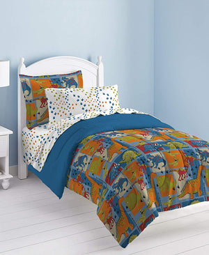 Blue Green Dinosaur Patchwork Boy Bedding Twin or Full Comforter Set Bed in a Bag