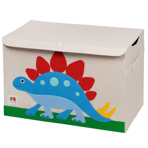 Dinosaur Appliqued Toy Storage Chest / Foldable Canvas Box / Bin 24""
