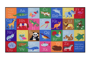"ABC Alphabet Letters with Animals Educational Play Rug 39"" x 80"""