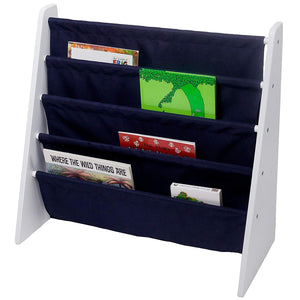 Navy Blue Sling 4-Tier Bookshelf Bookcase - Natural, White, Cherry, Espresso