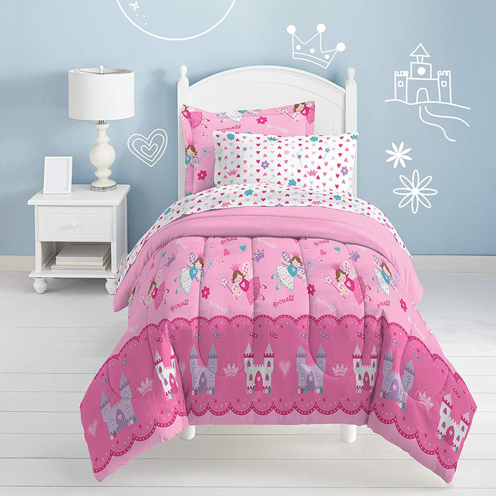 Pink Magical Princess Fairy Bedding for Little Girls Twin Bed in a Bag Ensemble