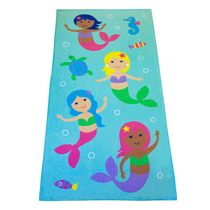 "Sea Mermaids Kids Cotton Beach / Bath Towel 32"" x 64"""